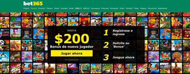 Imagen que muestra varios juegos de tragamonedas y la el bono de 200 dolares gratis de bet365