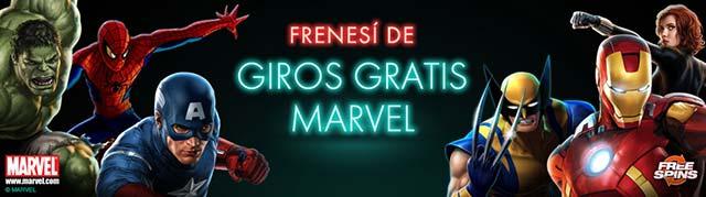 Imagen con texto: Frenesi de giros gratis de Marvel, y distintos caracteres de los tragamonedas marvel