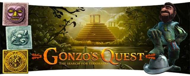 Imagen con el personaje de Gonzos Quest el logo del tragamonedas y un fondo precolombino